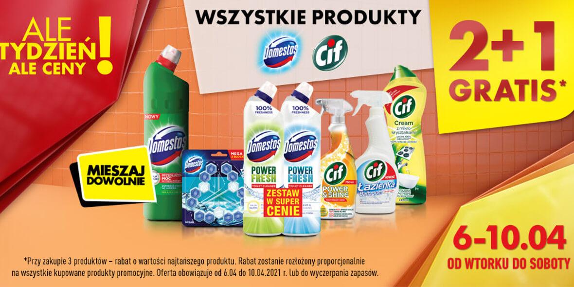 Biedronka:  2 + 1 na wszystkie produkty marek Domestos i Cif 06.04.2021
