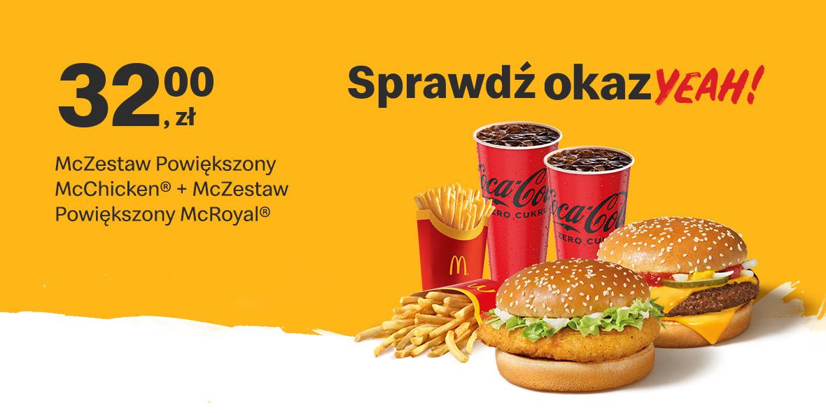McDonald's: 32 zł McZestaw Powiększony 14.06.2021