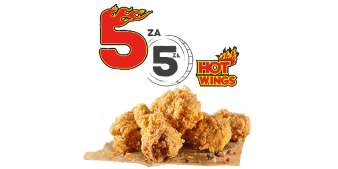 KFC: 5 zł za 5 sztuk Hot Wings 08.04.2021