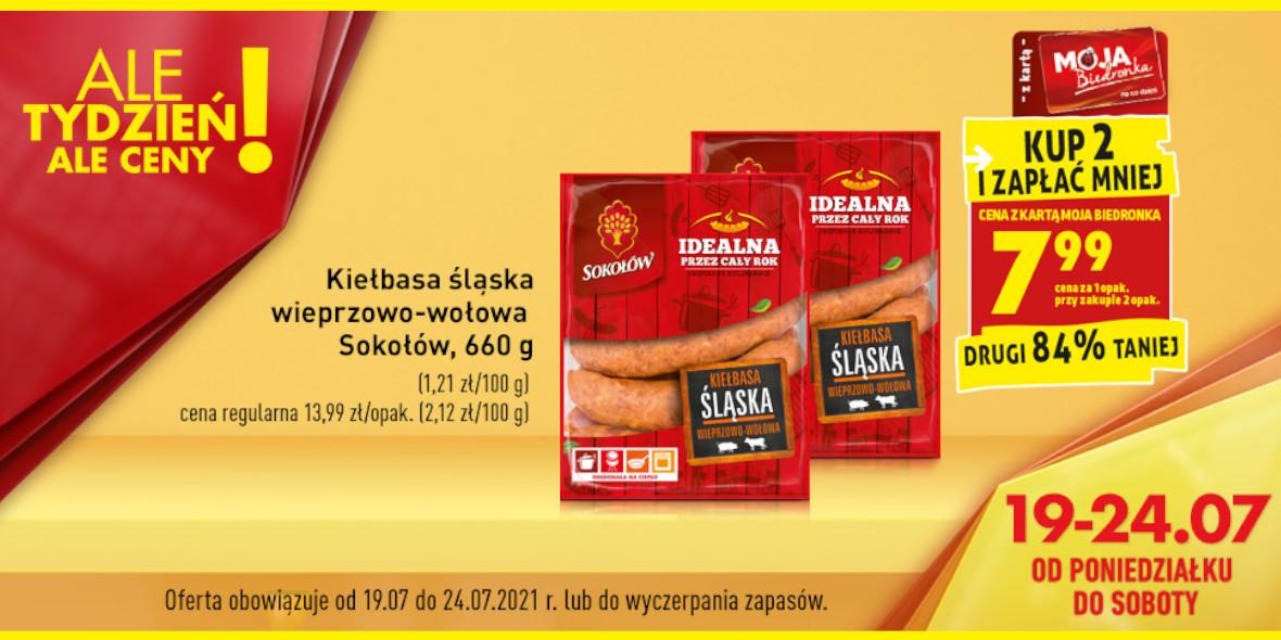 Biedronka: 7,99 zł za opakowanie kiełbasy Sokołów 19.07.2021