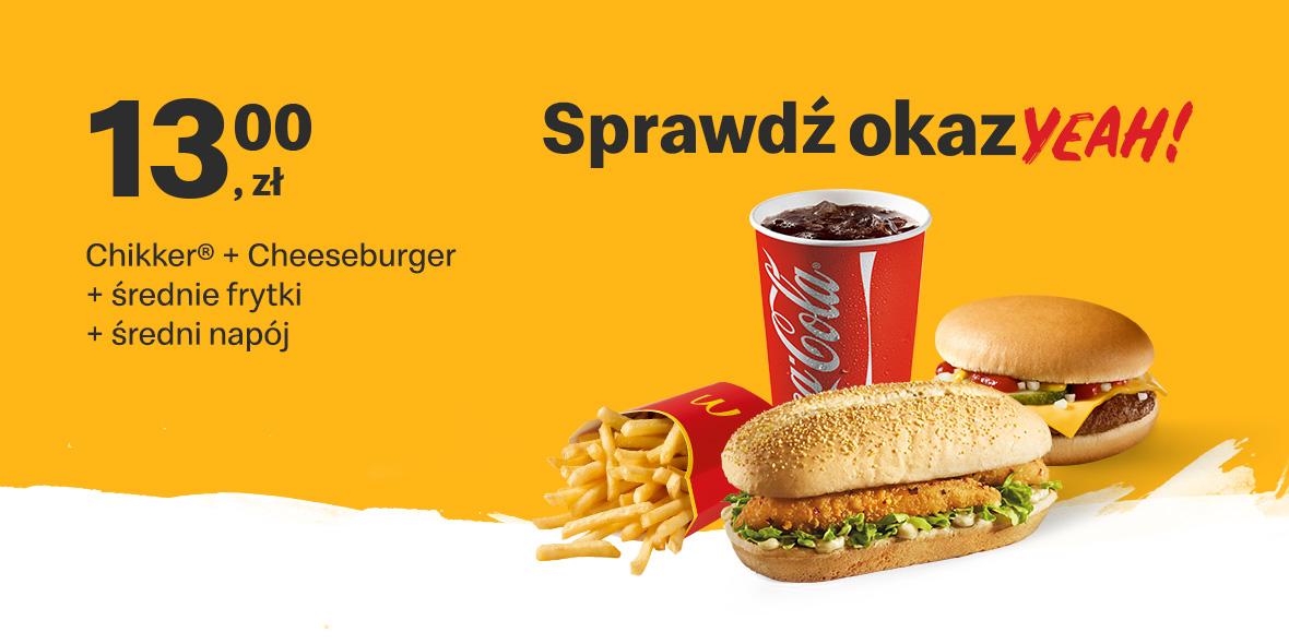 Chikker® + Cheeseburger + śr. frytki + śr. napój