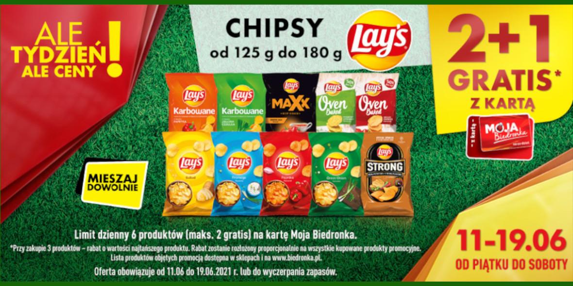 Biedronka: 2 + 1 na wszystkie chipsy Lay's 11.06.2021
