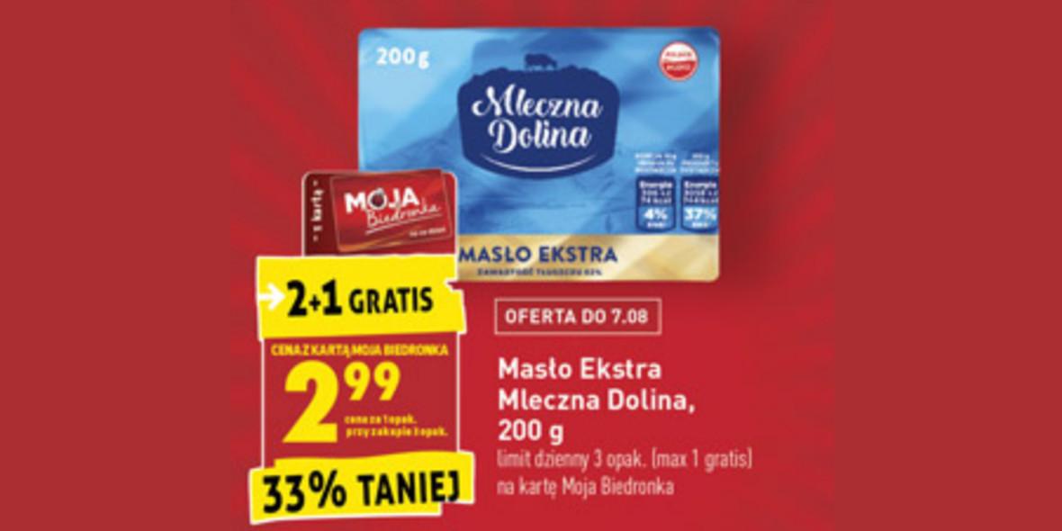 Biedronka: -33% na masło ekstra Mleczna Dolina 05.08.2021