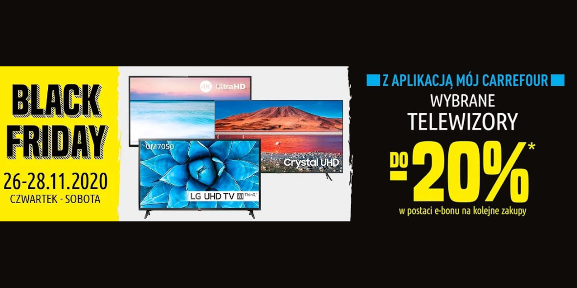 Carrefour: -20% na wybrane telewizory 26.11.2020