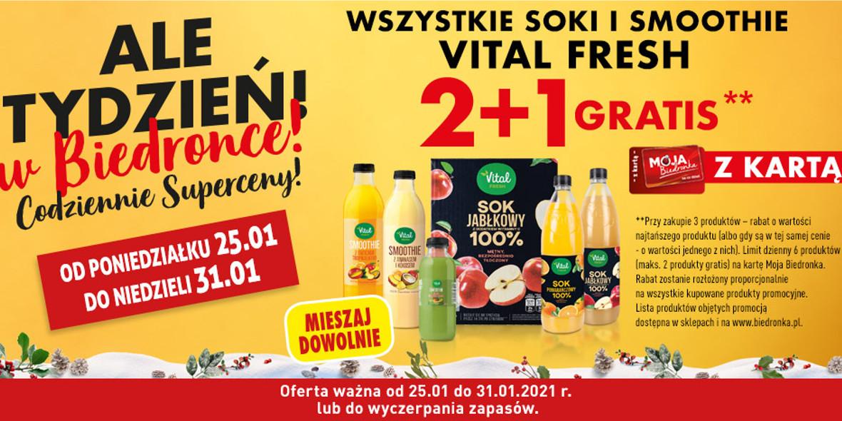 Biedronka:  2 + 1 na wszystkie soki i smoothie Vital Fresh 25.01.2021