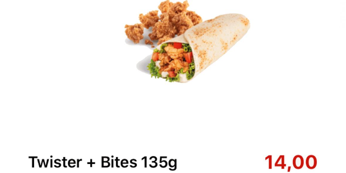 KFC: 14 zł za Twister + Bites 135 g 17.09.2020