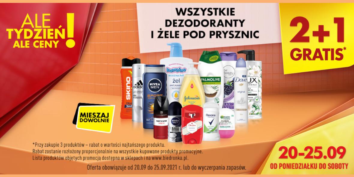Biedronka: 2 + 1 GRATIS na wszystkie dezodoranty i żele pod prysznic 20.09.2021