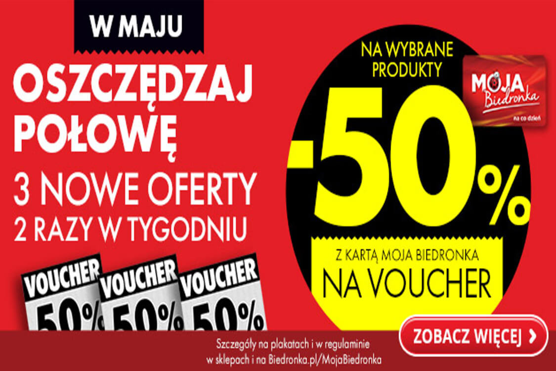 Biedronka: -50% na voucher z kartą Moja Biedronka