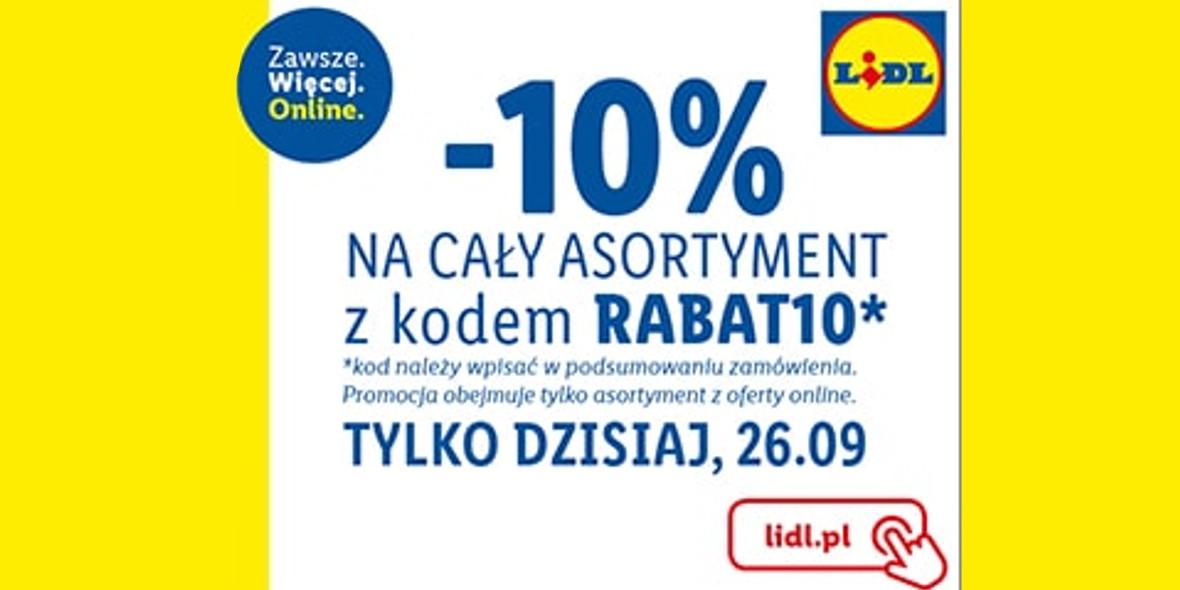 Lidl: Kod: -10% na cały asortyment sklepu ONLINE 26.09.2021