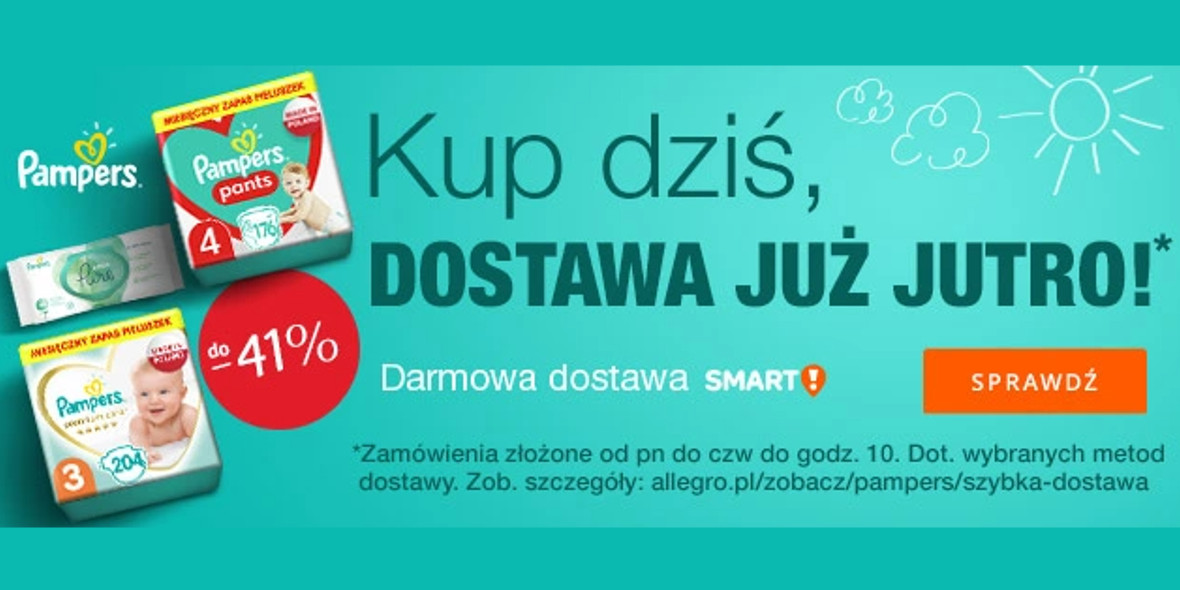 Allegro:  Do -41% na Pampers 21.09.2021
