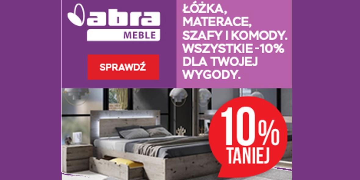 Abra: -10% na wszystkie łóżka, materace, szafy, komody 17.09.2021