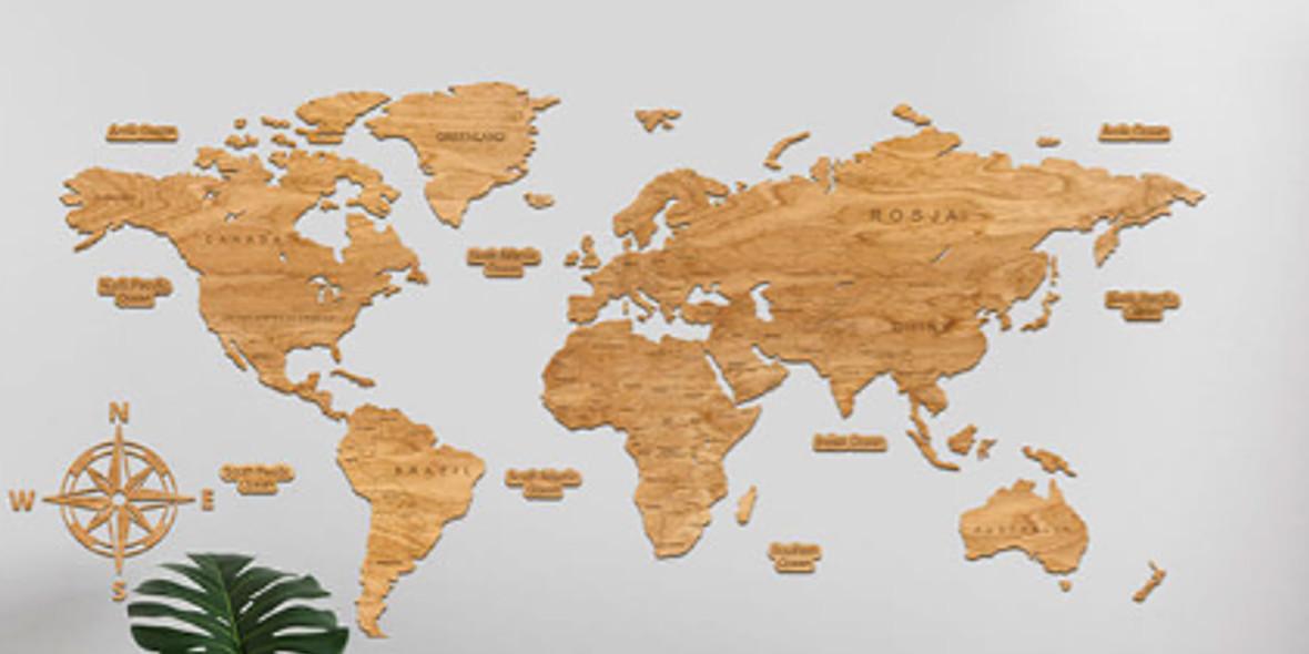 Sikorka.net: -20% na drewniane mapy świata