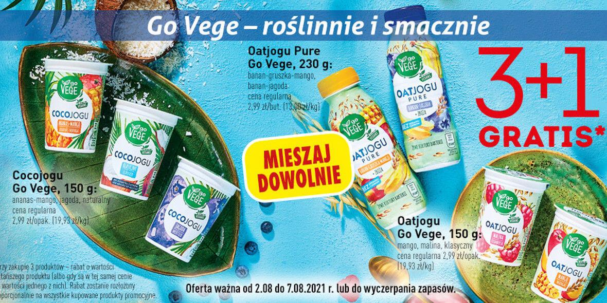 Biedronka: 3 + 1 roślinne jogurty Go Vege 02.08.2021
