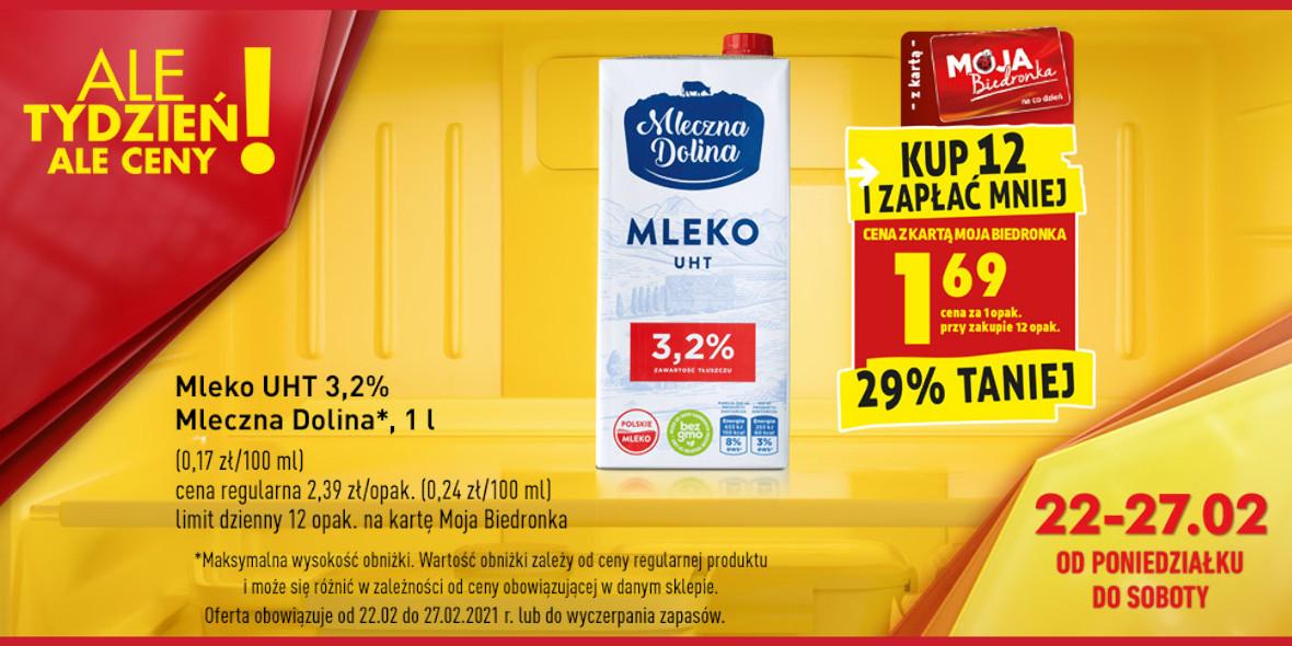 Biedronka: 1,69 zł za opakowanie mleka 22.02.2021