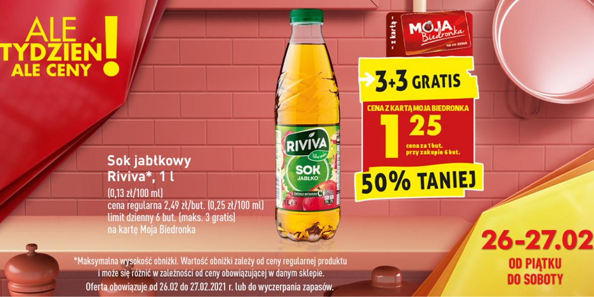 Biedronka:  -50% na sok jabłkowy 26.02.2021