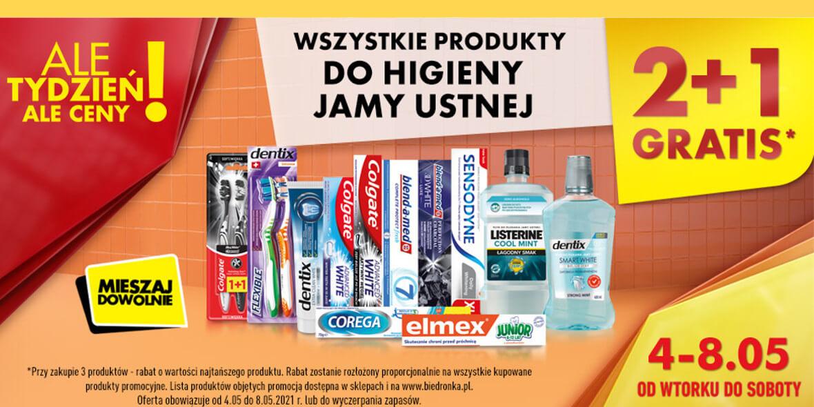 Biedronka: 2 + 1 na wszystkie produkty do higieny jamy ustnej 04.05.2021