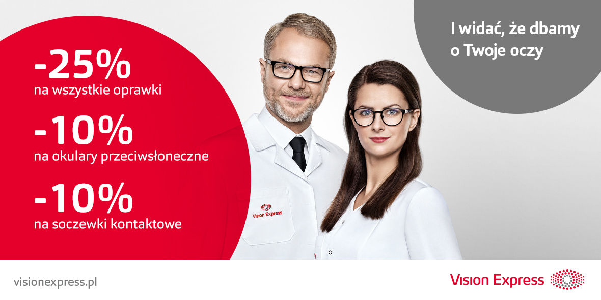 Vision Express: Do -25% na zakupy w Vision Express 23.04.2019