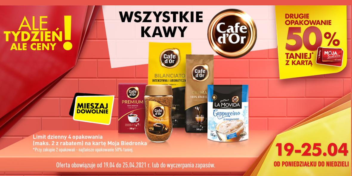 Biedronka:  -50% na wszystkie kawy Cafe d'Or 19.04.2021