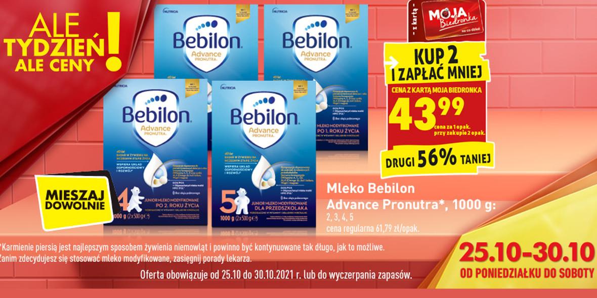 Biedronka:  -56% na mleko Bebilon 25.10.2021