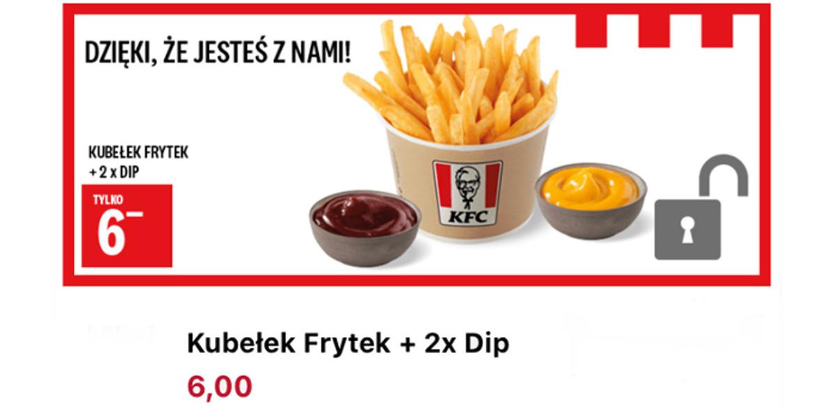 KFC: 6 zł za Kubełek Frytek + 2x Dip 17.09.2020