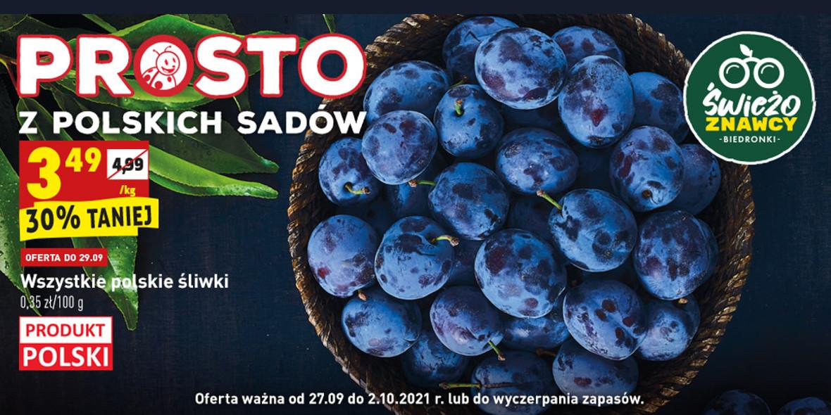 Biedronka: -30% na wszystkie polskie śliwki 27.09.2021
