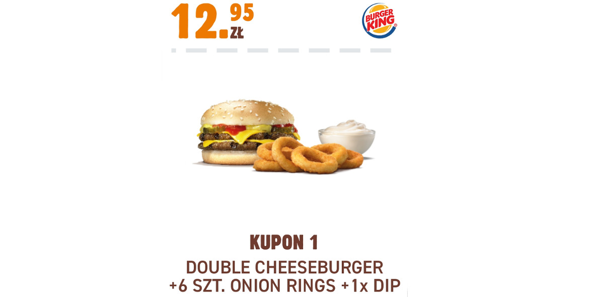 Burger King: 12,95 zł Double Cheeseburger + 6 szt. Onion Rings + 1xDip 17.11.2020