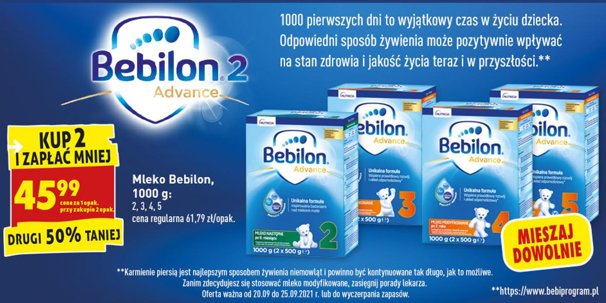 Biedronka: -50% na mleko Bebilon 22.09.2021