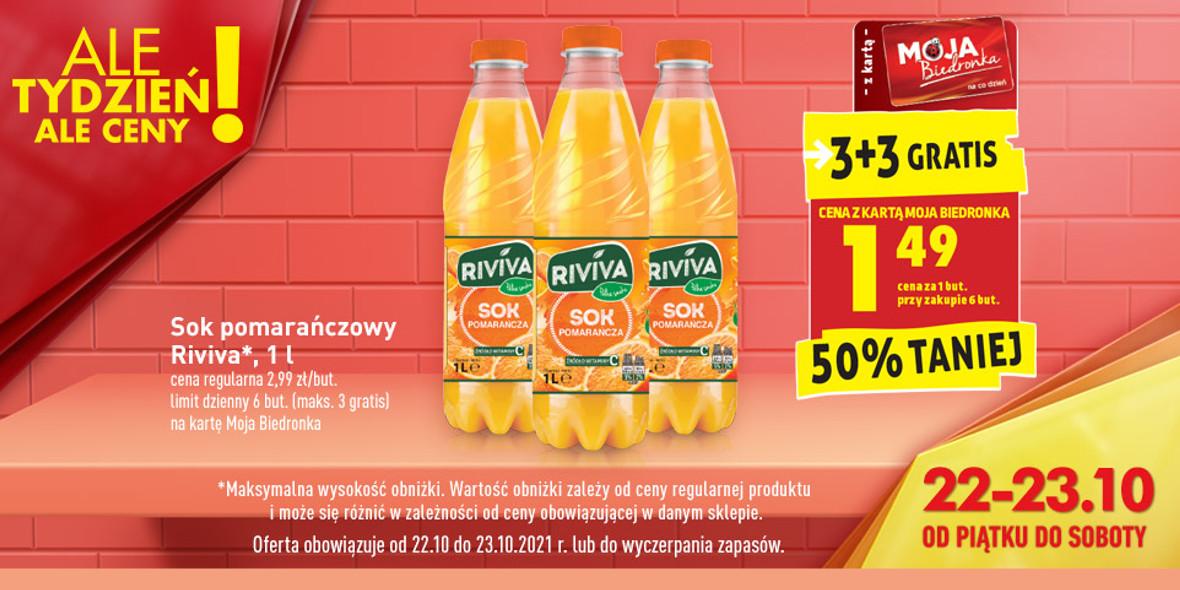 Biedronka:  3 + 3 na sok pomarańczowy Riviva 22.10.2021