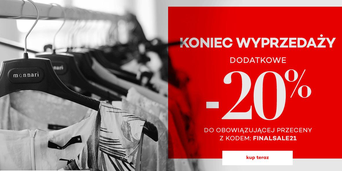 Monnari:  Kod: -20% dodatkowo na wyprzedaż 26.09.2021