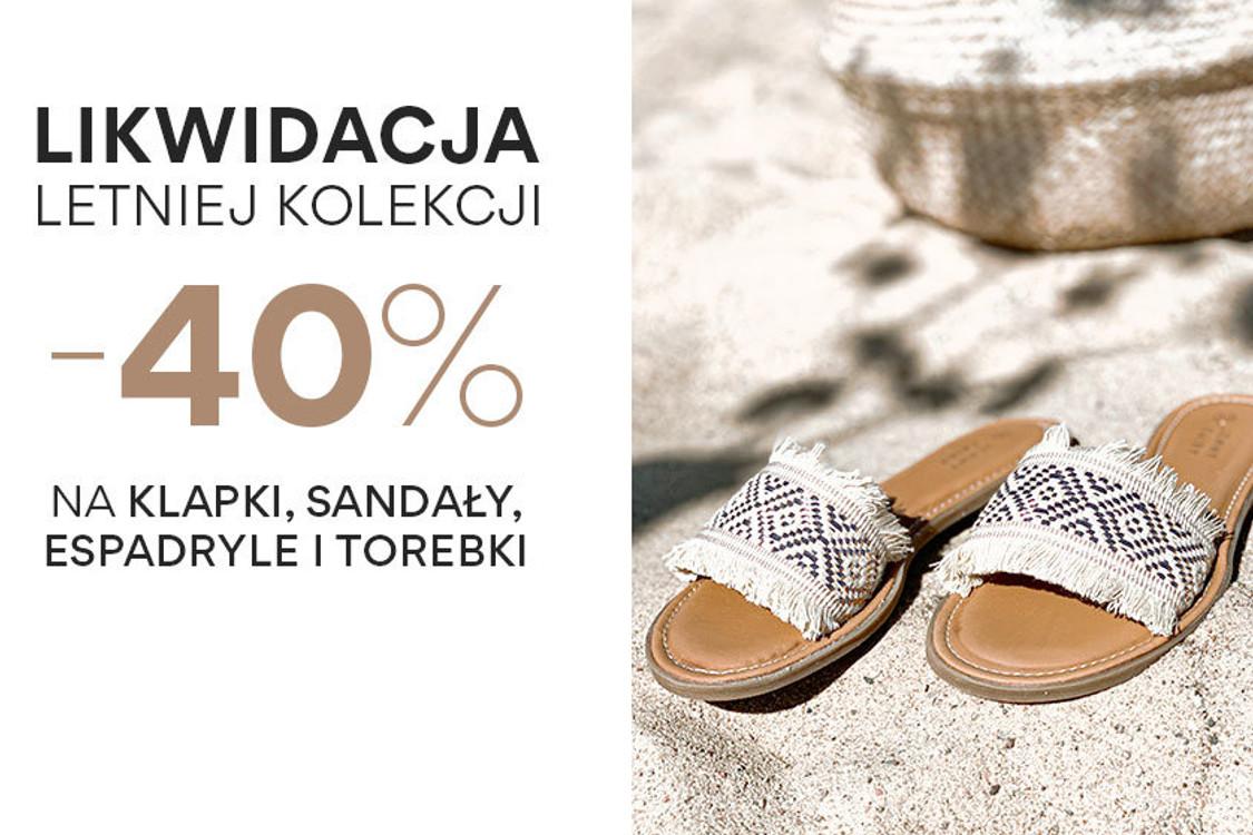 Kod: -40% na klapki, sandały, espadryle i torebki