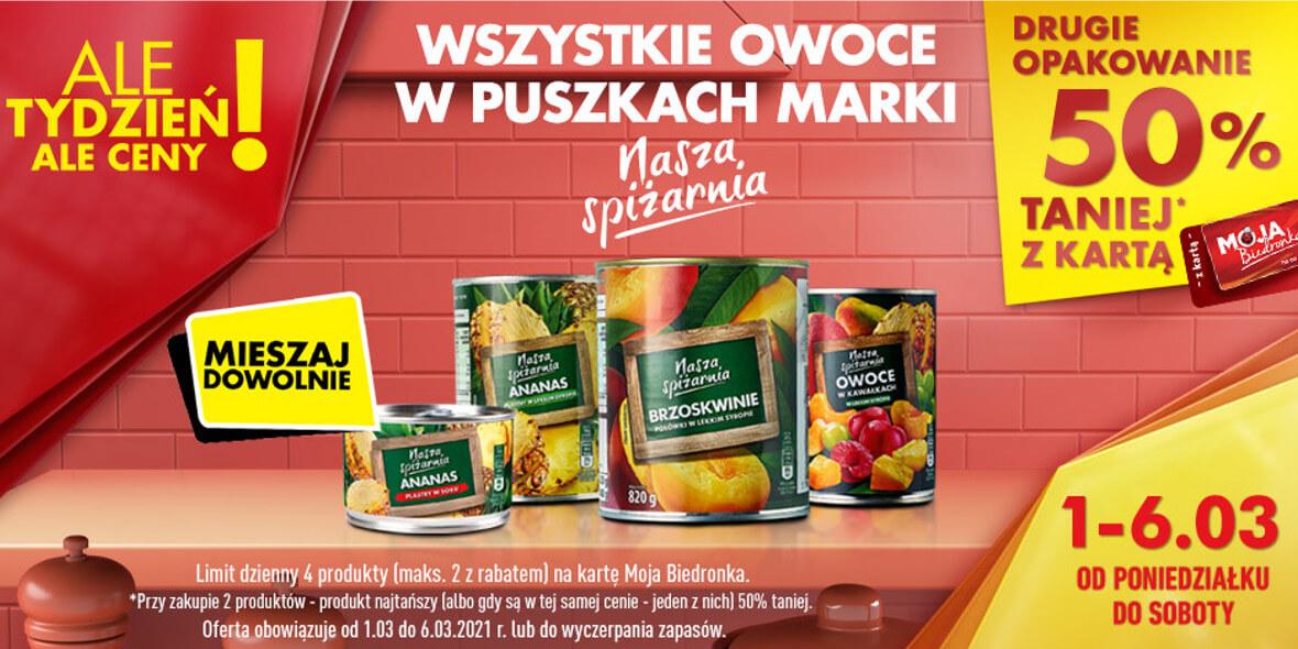 Biedronka: -50% na drugie opakowanie owoców w puszkach 01.03.2021