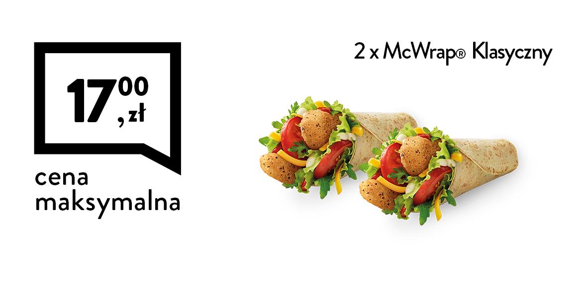 McDonald's: 17 zł za 2 x McWrap® klasyczny