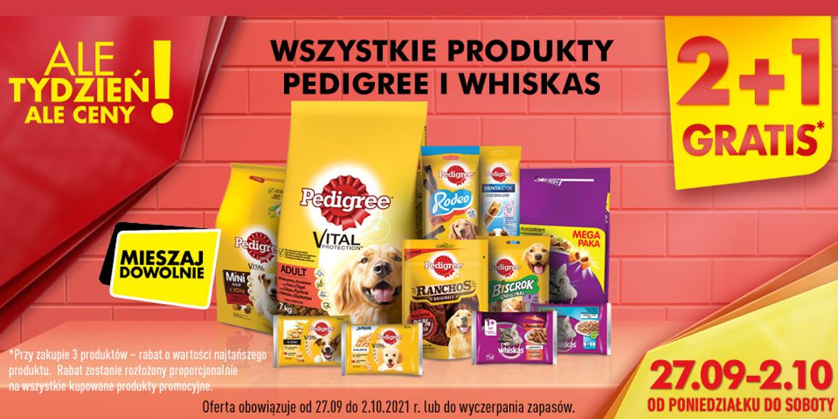 Biedronka: 2 + 1 wszystkie produkty Pedigree i Whiskas 27.09.2021