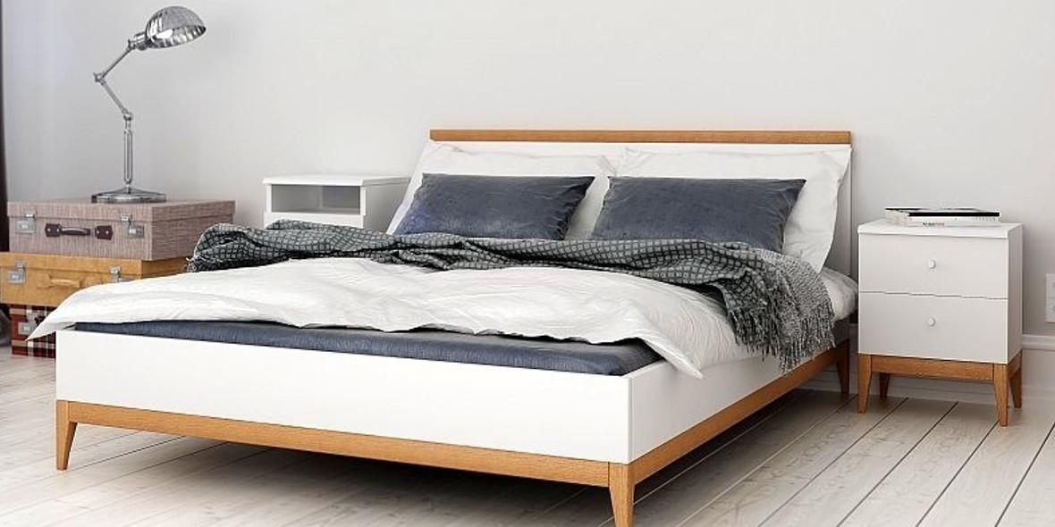 za drewniane łóżko w skandynawskim stylu