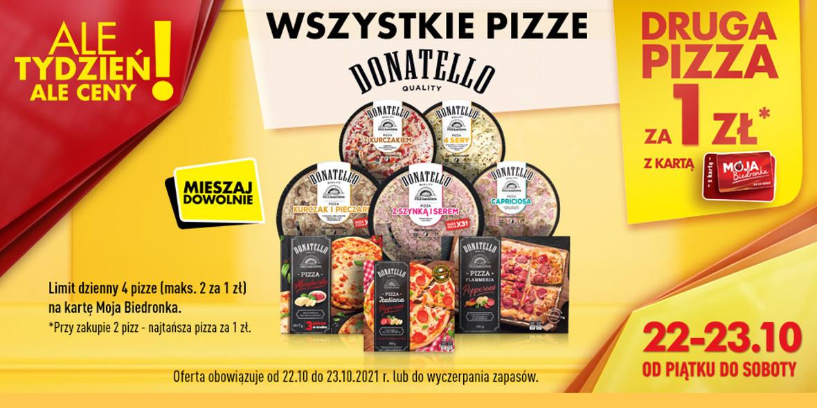 Biedronka:  1 zł na drugą pizzę Donatello 22.10.2021
