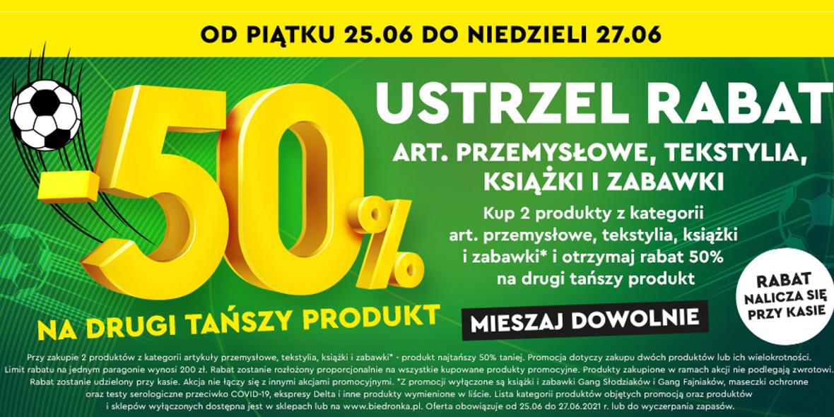 Biedronka: -50% na art. przemysłowe, tekstylia, książki, zabawki 25.06.2021