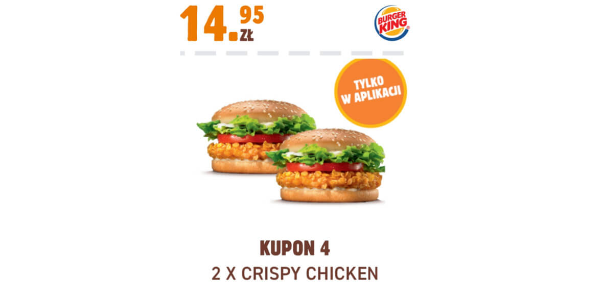 Burger King: 14,95 zł 2 x Crispy Chicken 01.02.2021