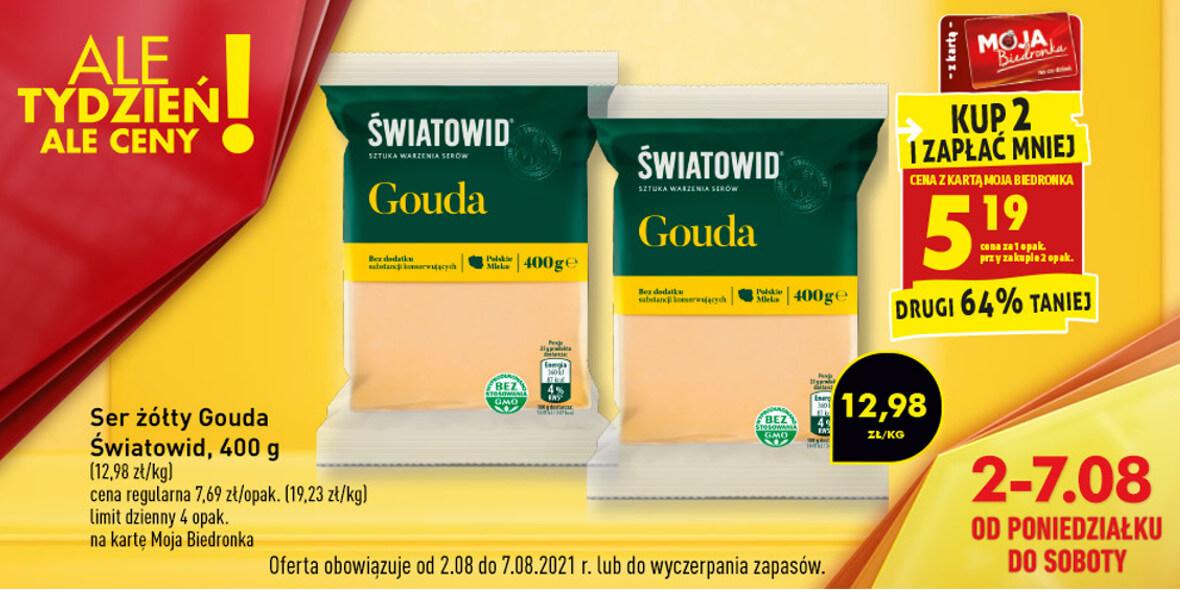 Biedronka: -64% na ser żółty Gouda Światowid, drugie opakowanie 04.08.2021