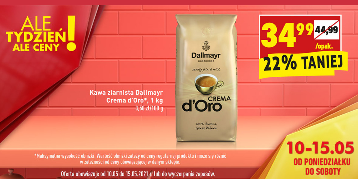 Biedronka:  -22% na kawę ziarnistą Dallmayr Crema 10.05.2021