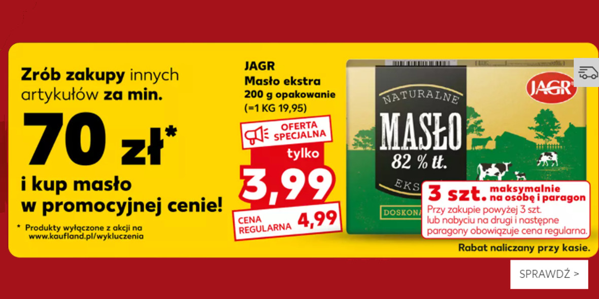 Kaufland: 3,99 zł za masło ekstra JAGR 25.10.2021