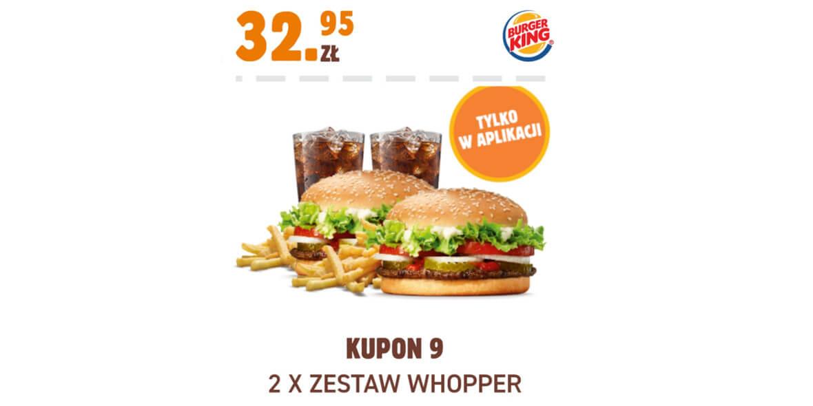 Burger King: 32,95 zł 2 x zestaw Whopper 01.02.2021
