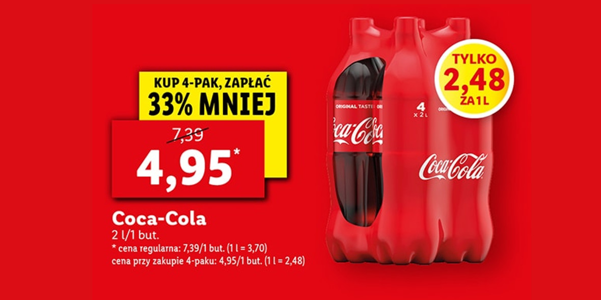 Lidl:  -33% na napój Coca-Cola 18.10.2021