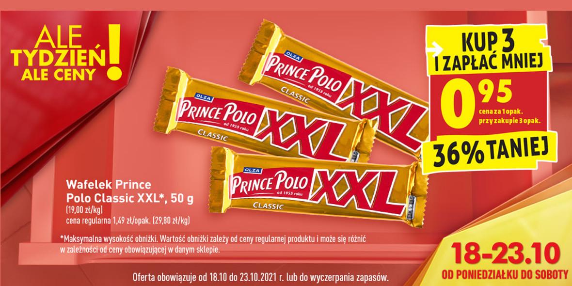 Biedronka:  -36% na wafelek Prince Polo XXL 18.10.2021