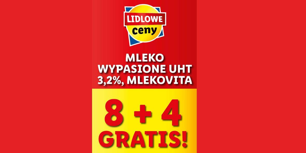 Lidl: 8 + 4 na mleko Wypasione UHT 3,2% Mlekovita 14.10.2021