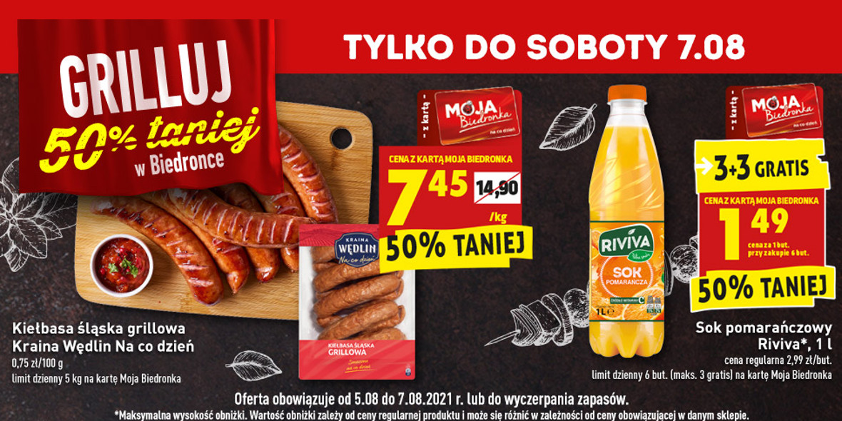 Biedronka:  -50% na produkty na grilla 05.08.2021