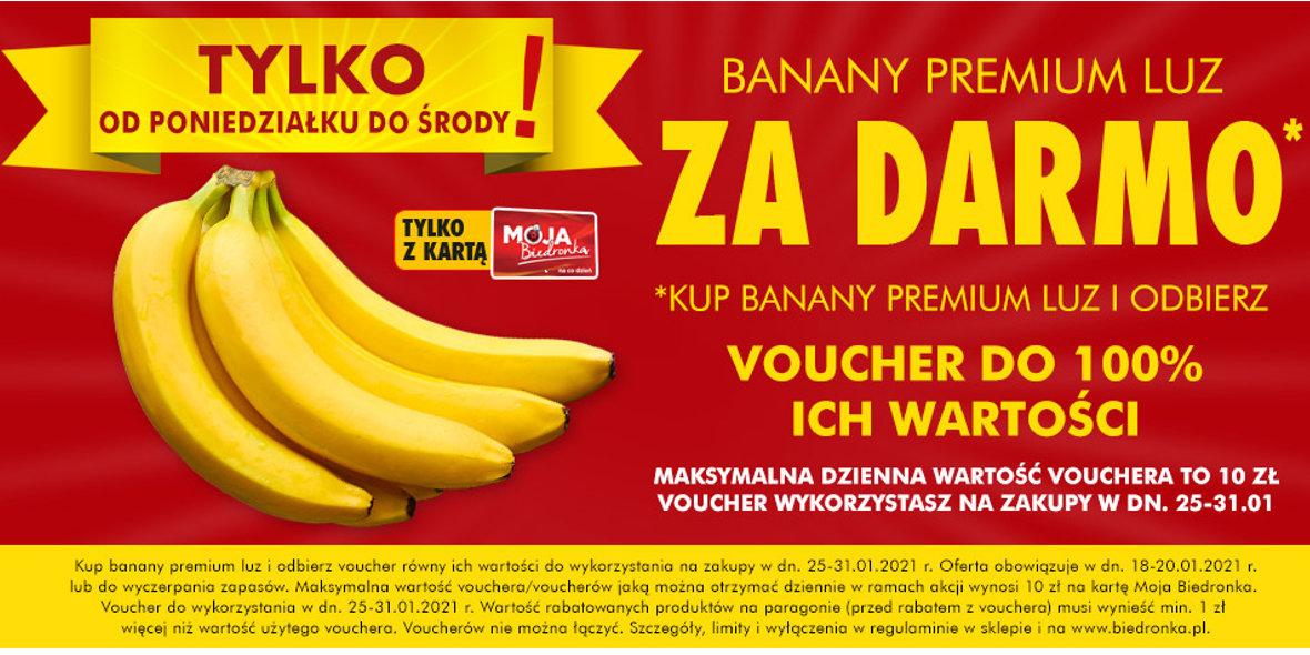 Biedronka: Za darmo banany premium 18.01.2021