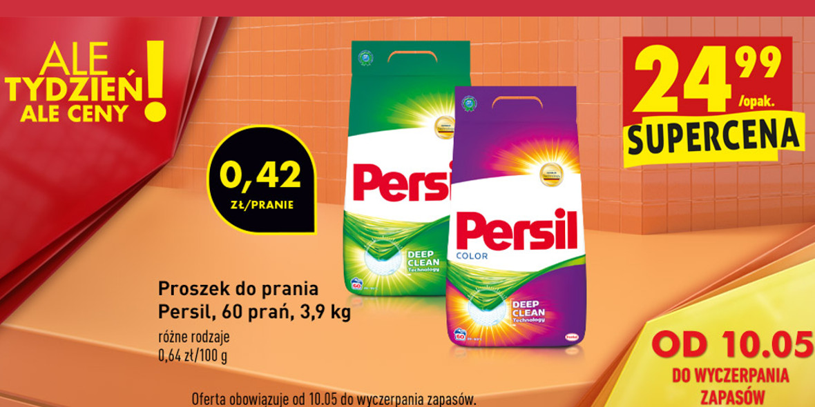 Biedronka:  24,99 zł za proszek do prania Persil 10.05.2021