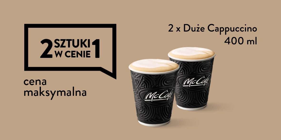 2 x Duże Cappuccino 400 ml w cenie 1