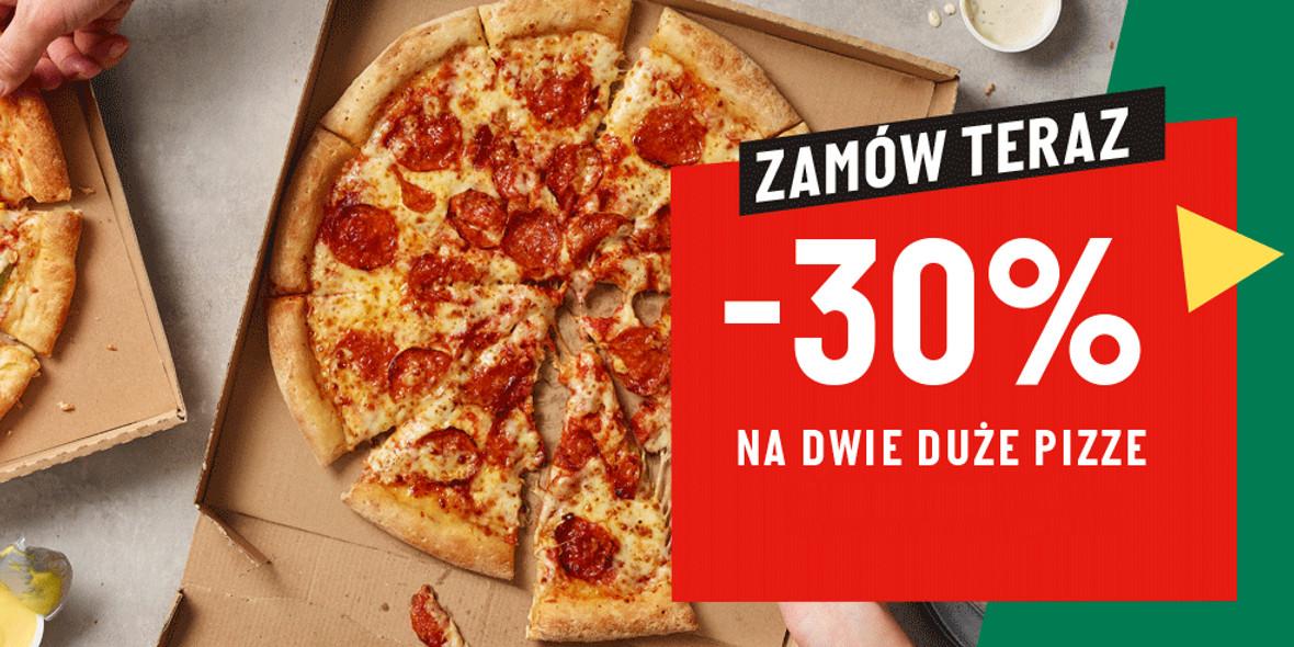 Papa John's: Kod: -30% na dwie duże pizze 01.01.0001