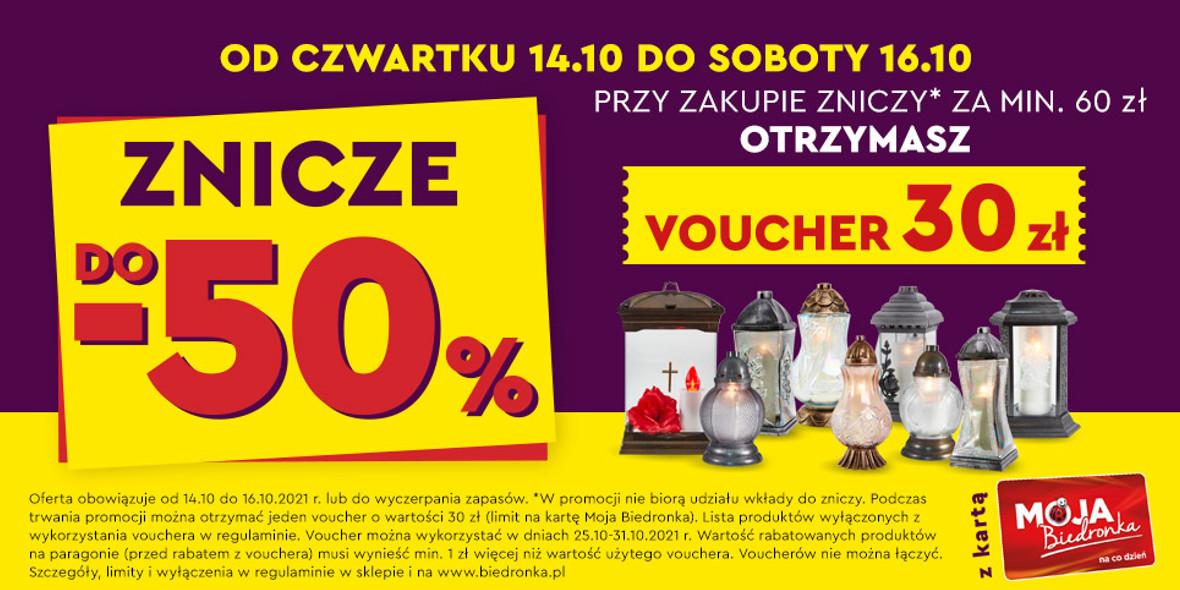 Biedronka:  Do -50% na znicze + voucher o wartości 30 zł 14.10.2021